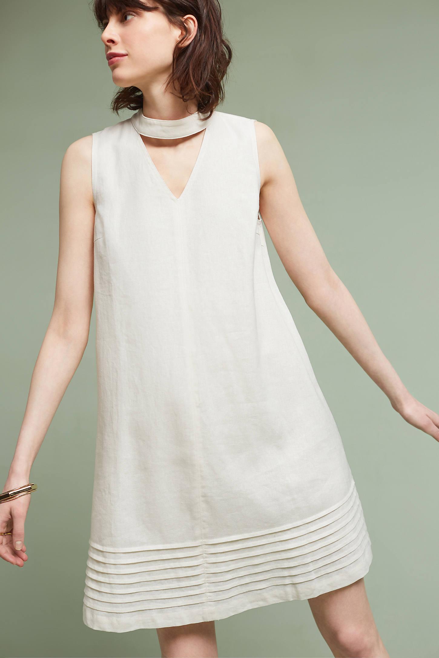 Cutout Linen Swing Dress