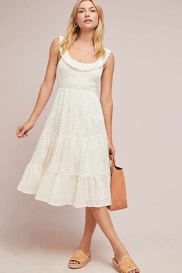 Belle Tiered Midi Dress - Ivory