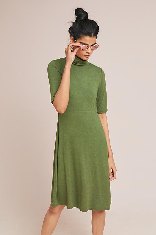 Coreyell Kleid mit Stehkragen - Green