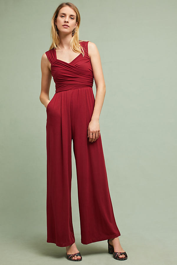 Molly Knit Jumpsuit - Wine, Size L