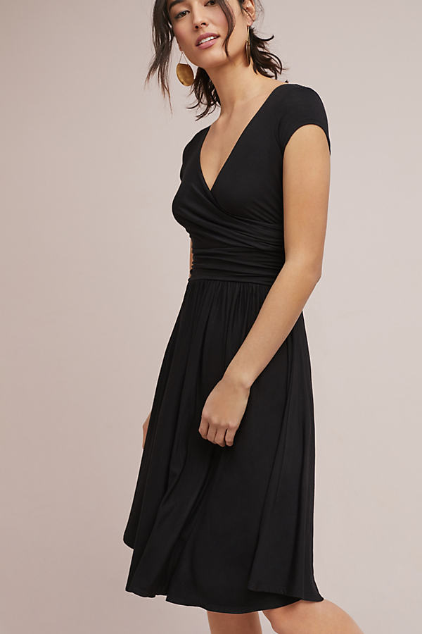 Escher Knit Wrap Dress - Black, Size Xs