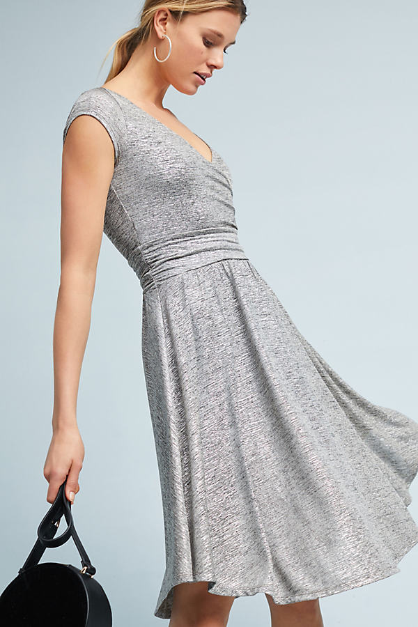 Escher Knit Wrap Dress - Silver, Size S