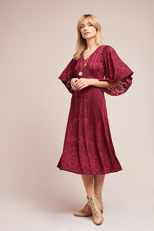Isolde Jersey Bell Sleeve Dress - Raspberry, Size Xs Petite
