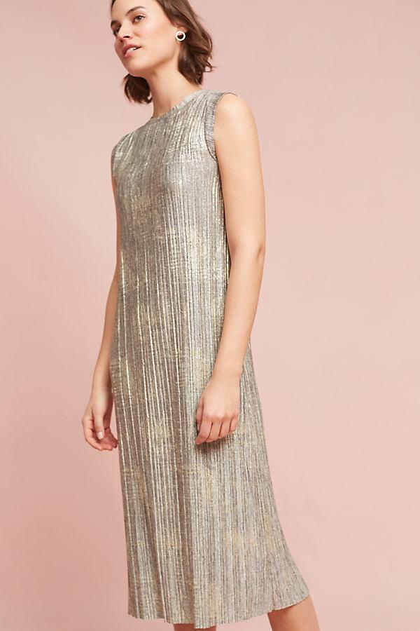 Corrina Metallic Dress - Grey, Size L