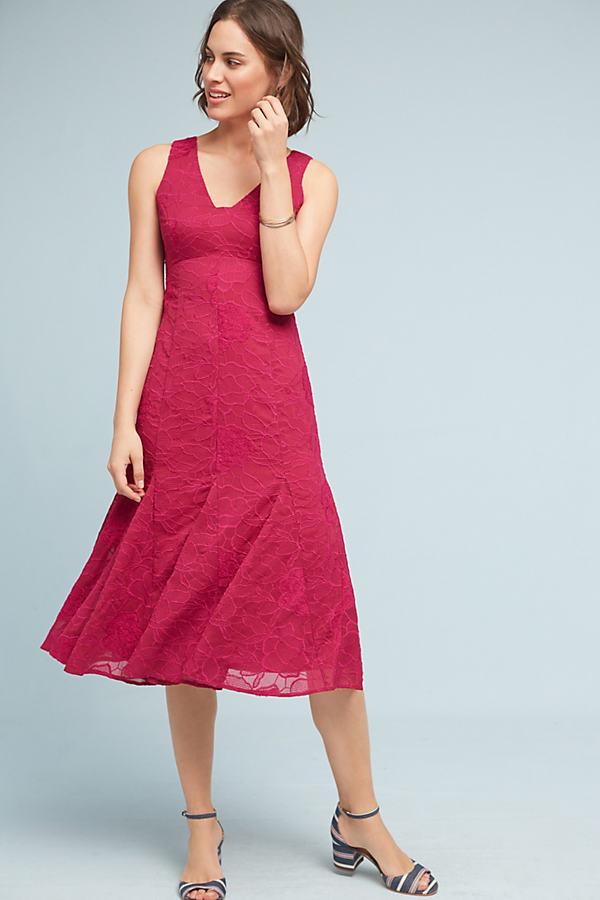 Persephone Lace Dress, Red - Wine, Size Uk 10