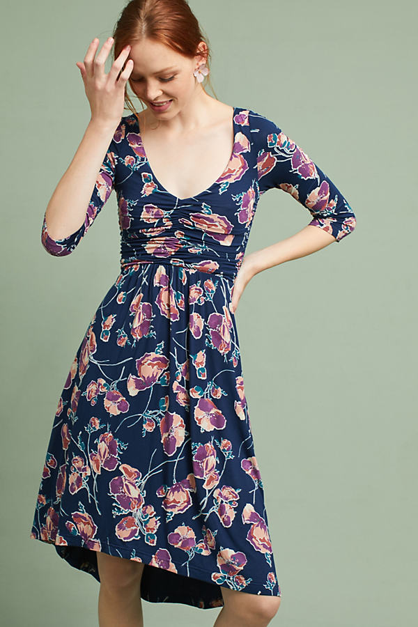 Heppel Ruched Floral Dress - Navy, Size M