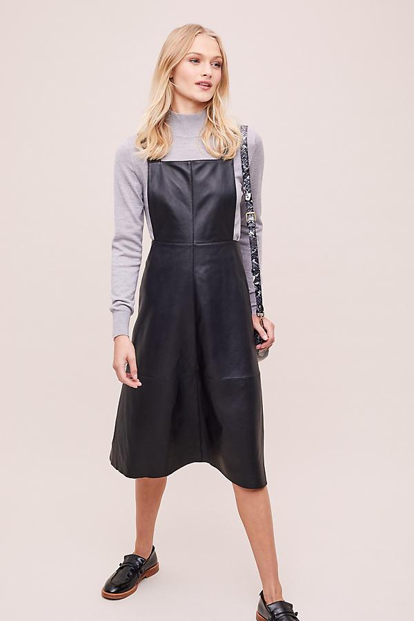 Mona Leather Pinafore Dress - Black, Size Uk 6