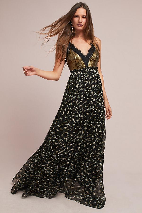 Lakshmi Maxi Dress - Black, Size Uk 16