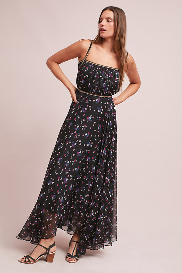 Pomona Floral Maxi Dress - Black, Size Uk 6