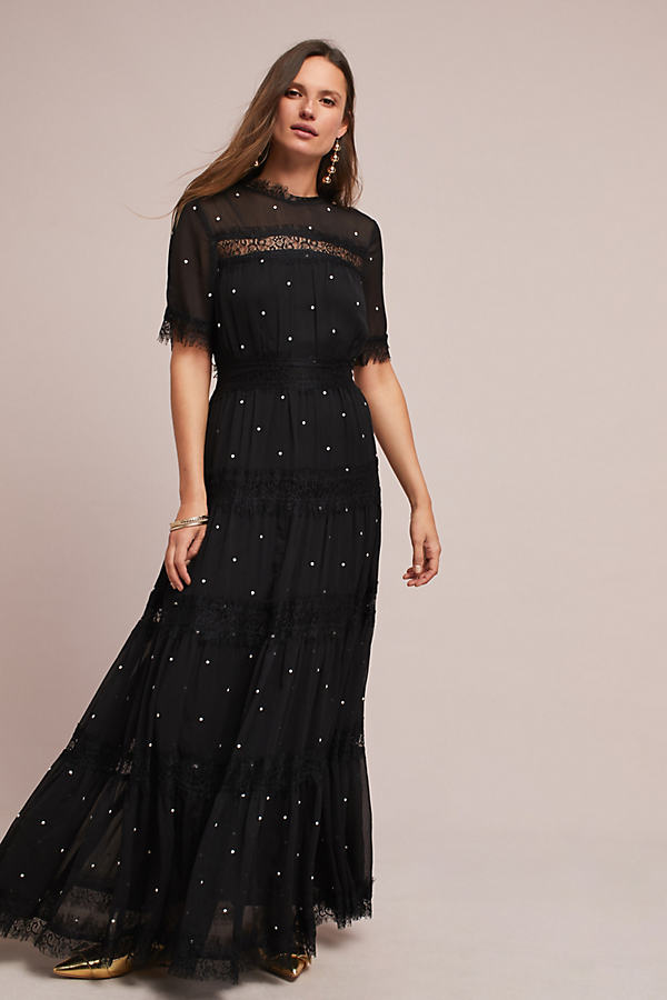Brett Embellished Maxi Dress - Black, Size Uk 6