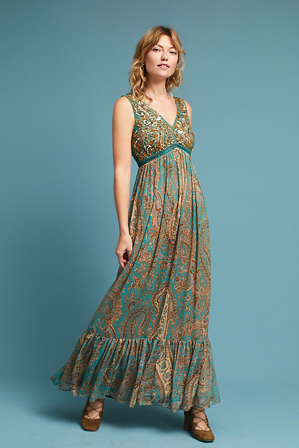 Beaded Paisley Maxi Dress - Turquoise, Size Uk 12