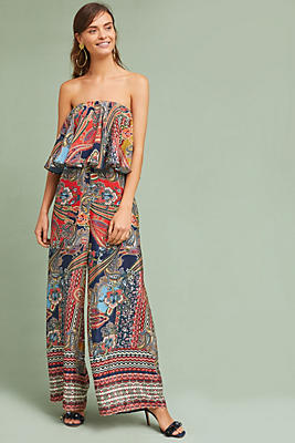 Slide View: 1: Strapless Paisley Jumpsuit