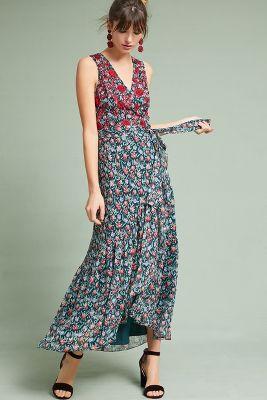 Ranna Gill   Beaded Wrap Dress  -    BLUE MOTIF