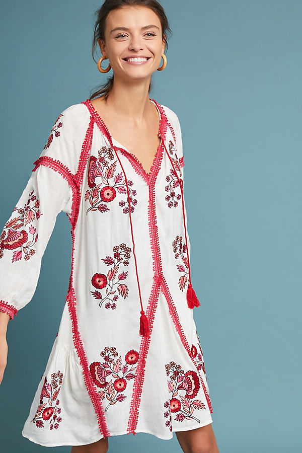 Hadley Embroidered Tunic Dress - Assorted, Size Xs