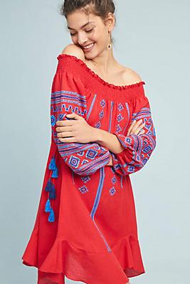 Slide View: 1: Scarlet Peasant Dress