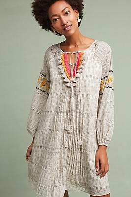 Slide View: 2: Karina Embroidered Tunic Dress