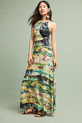 Slide View: 1: Painterly Silk Maxi Dress