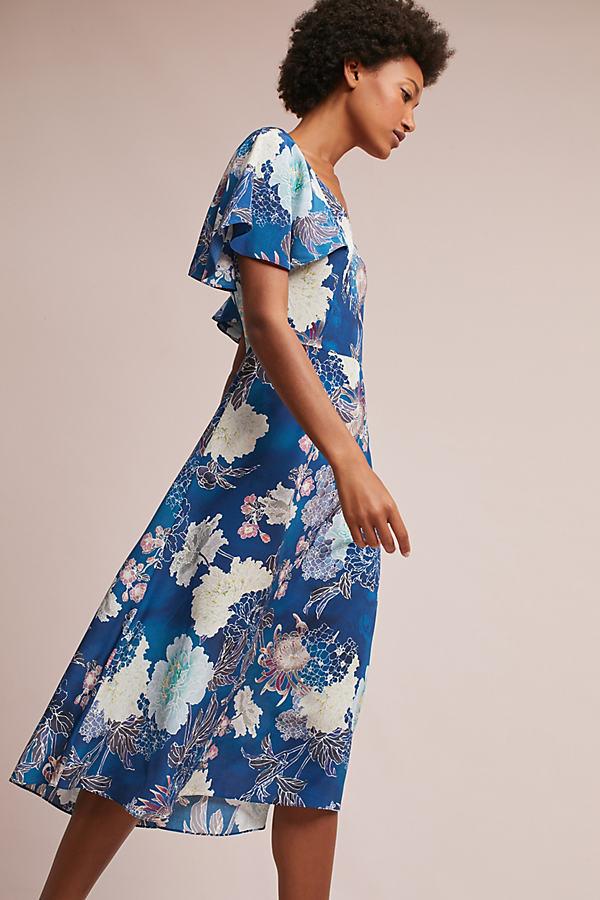Marta Blooms Silk Dress, Blue - Blue, Size 16