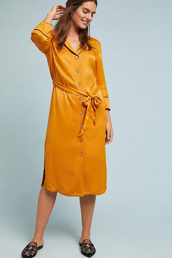 Miquella Shirt Dress - Yellow, Size Uk 8