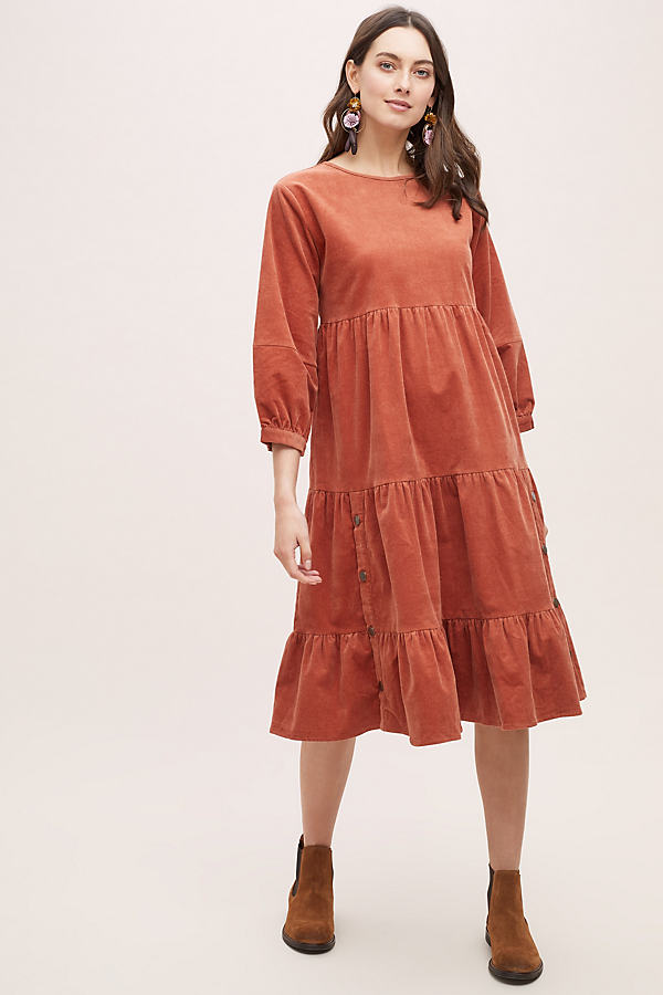 Oreley Tiered-Corduroy Dress - Orange, Size Uk 14