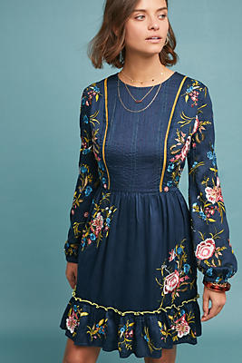 Slide View: 1: Jamila Embroidered Tunic Dress