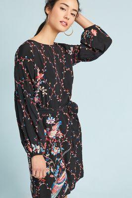 Seen Worn Kept   Bird Embroidered Dress  -    BLACK