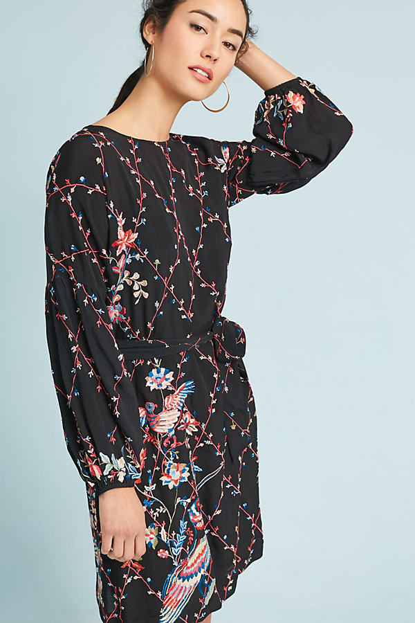 Lillian Embroidered Dress - Black, Size Uk 14