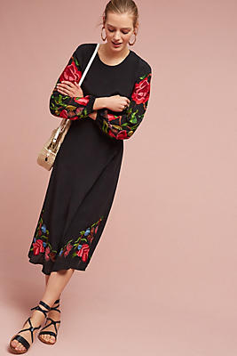 Slide View: 1: Loren Embroidered Midi Dress