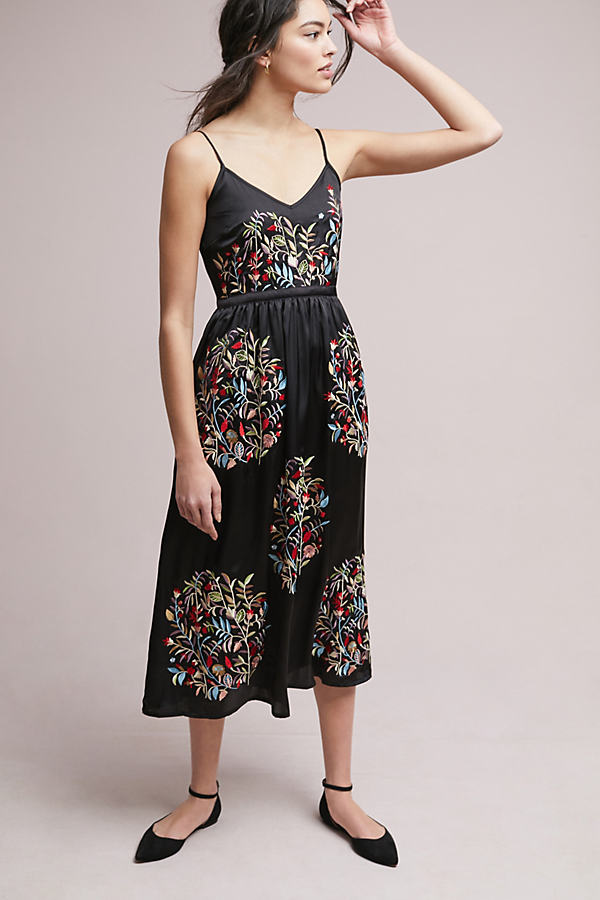 Anastacia Embroidered Satin Midi Dress - Black, Size Uk 12