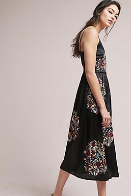 Slide View: 1: Embroidered Satin Midi Dress
