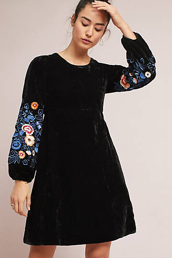 Michie Embroidered Velvet Dress