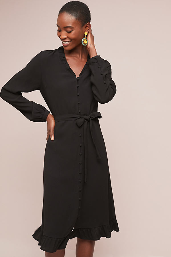 Anna Buttondown Dress - Black, Size Xs