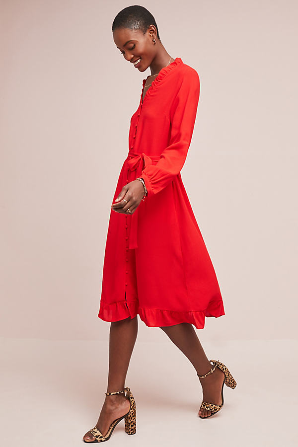 Anna Buttondown Dress - Red, Size Xs