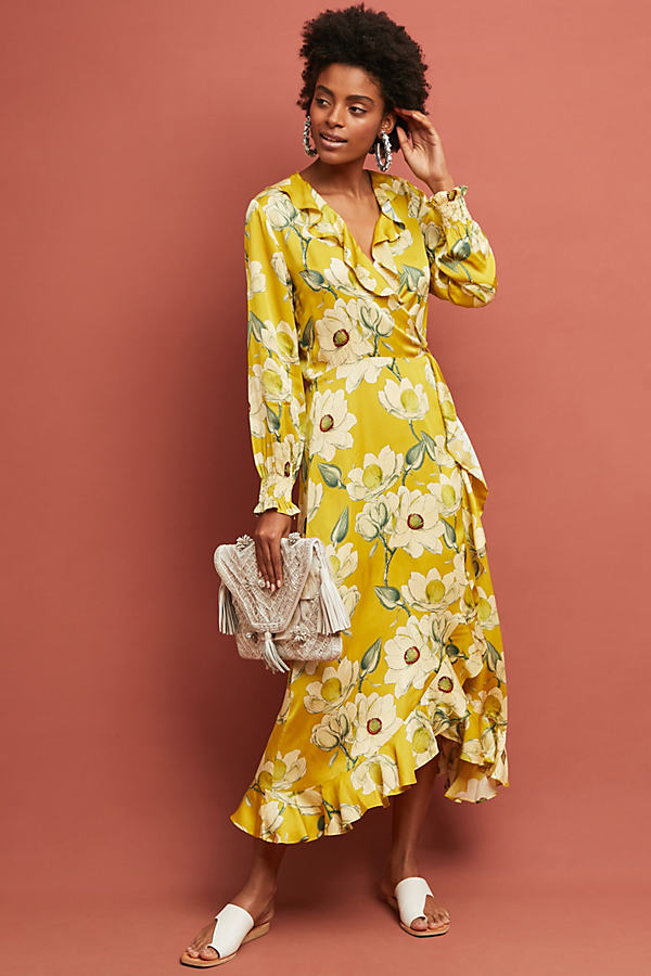 Second Female Magnolia Printed-Midi Wrap Dress - Yellow, Size Xs