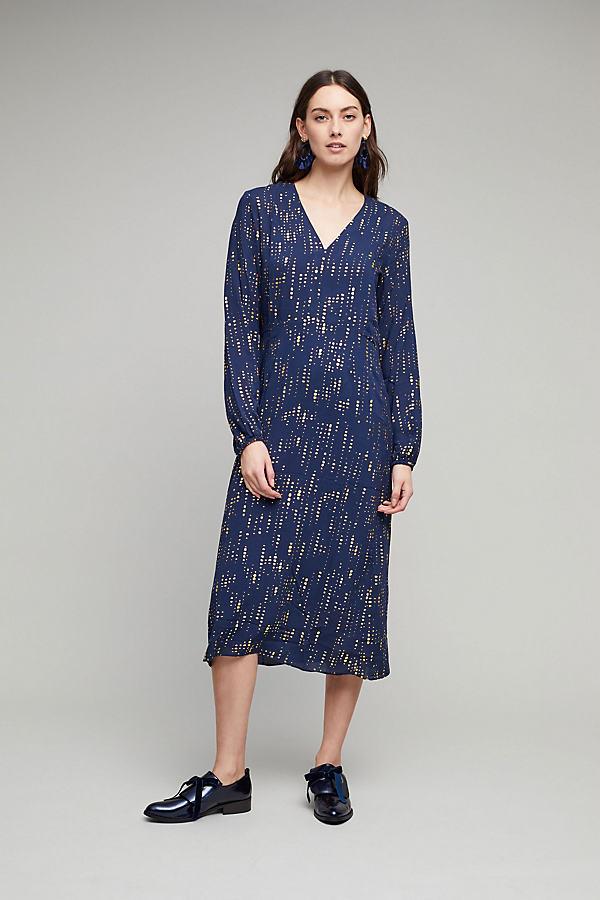 Ramina Metallic Print Midi Dress - Navy, Size M