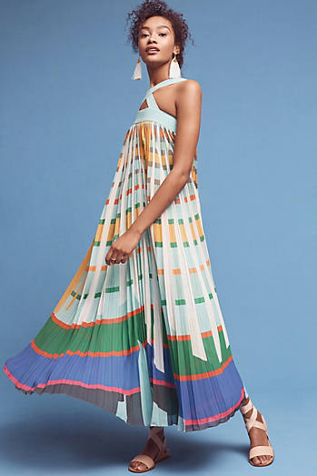 Abstraction Maxi Dress, Turquoise