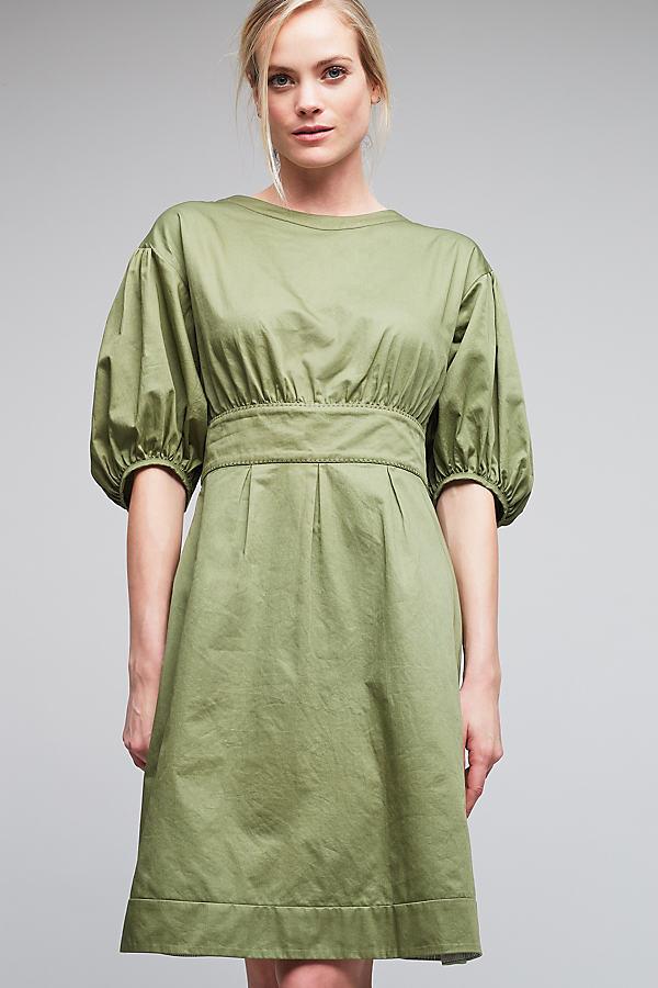 Weitz Poplin Puff Sleeve Dress, Khaki - Khaki, Size Uk 16