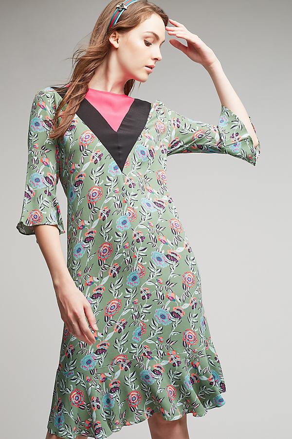 Cassia Floral Dress - Green Motif, Size Uk 10