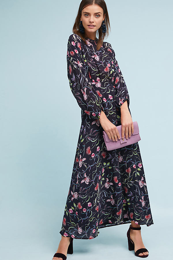 Austin Floral Crepe Maxi Dress - Black, Size Uk 6