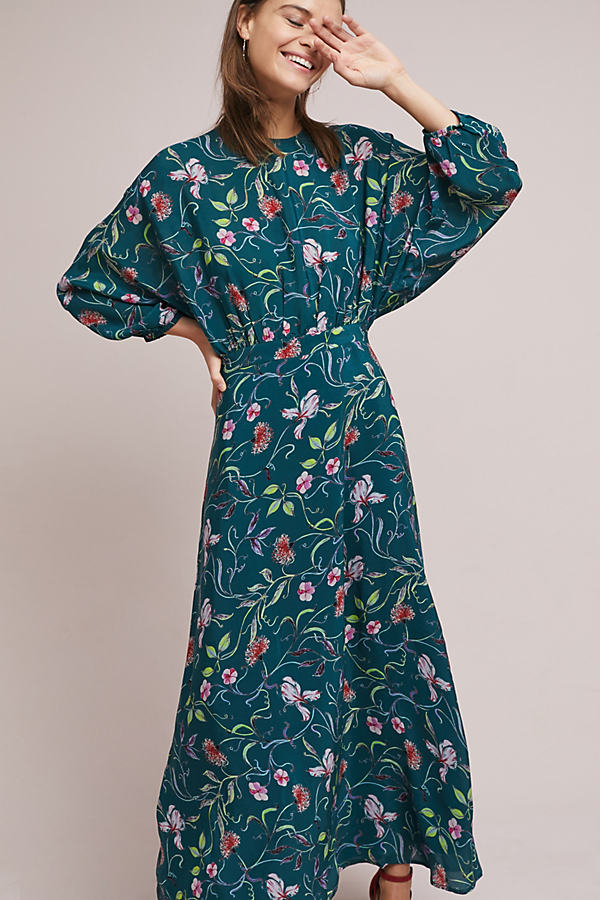 Austin Floral Crepe Maxi Dress - Dark Turquoise, Size Uk 16