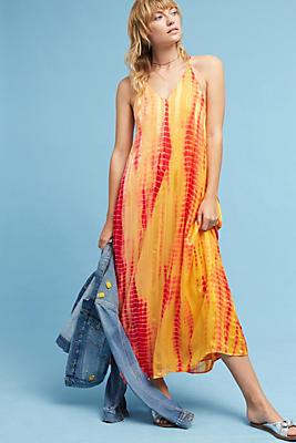 Slide View: 1: Tie-Dyed Silk Maxi Dress