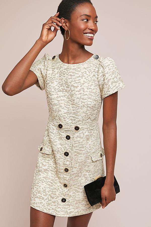 April Textured-Jacquard Dress - White, Size Uk 12