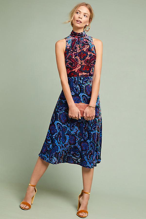 Cristina Burnout-Velvet Halterneck Column Dress - Assorted, Size Uk 8 P