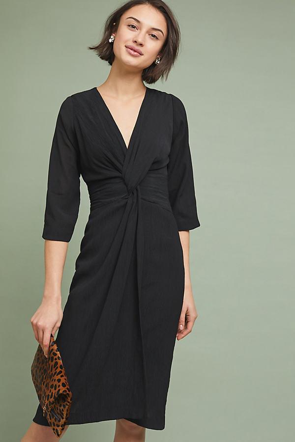 Sorley Twist-Front Dress - Black, Size Uk 14