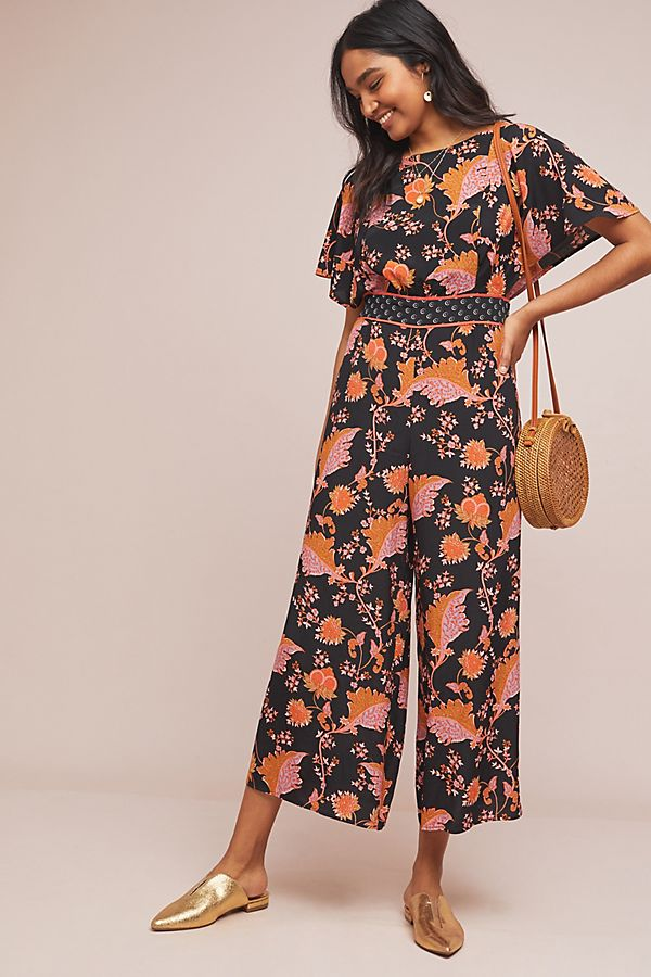 Slide View: 1: Belted Botanical Jumpsuit