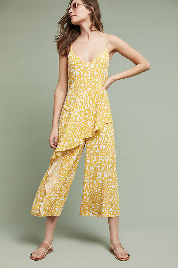 Brittany Printed Jumpsuit - Yellow Motif, Size 8 Petite