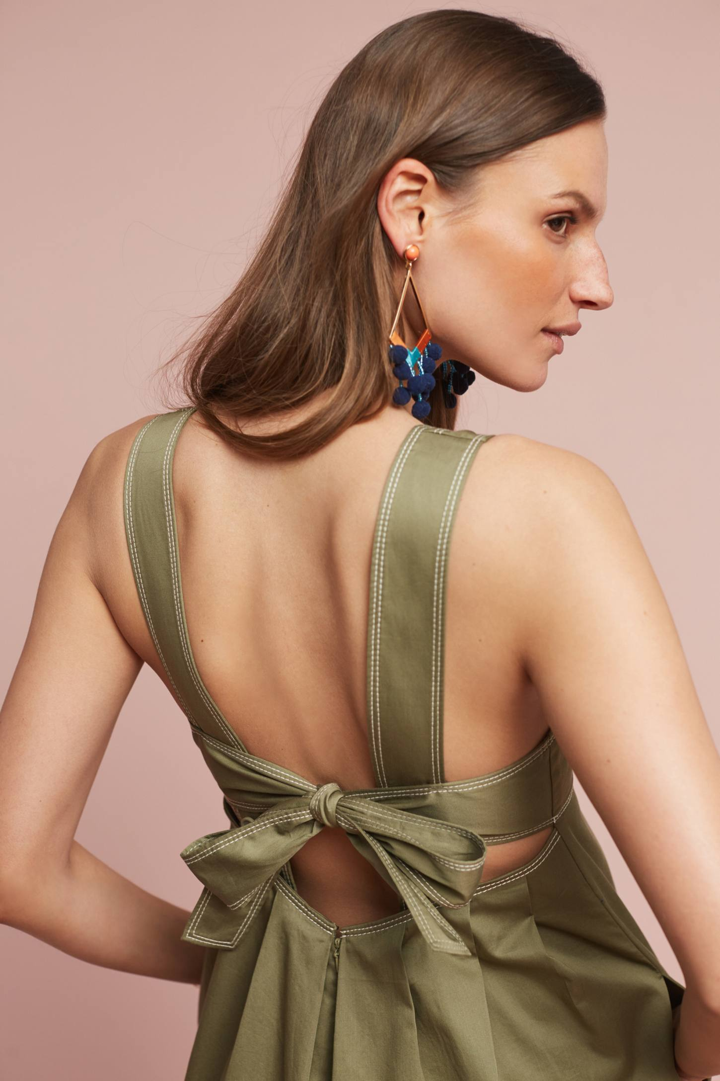 Slide View: 3: Amity Wide-Leg Jumpsuit, Olive