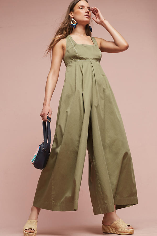 Slide View: 1: Amity Wide-Leg Jumpsuit, Olive