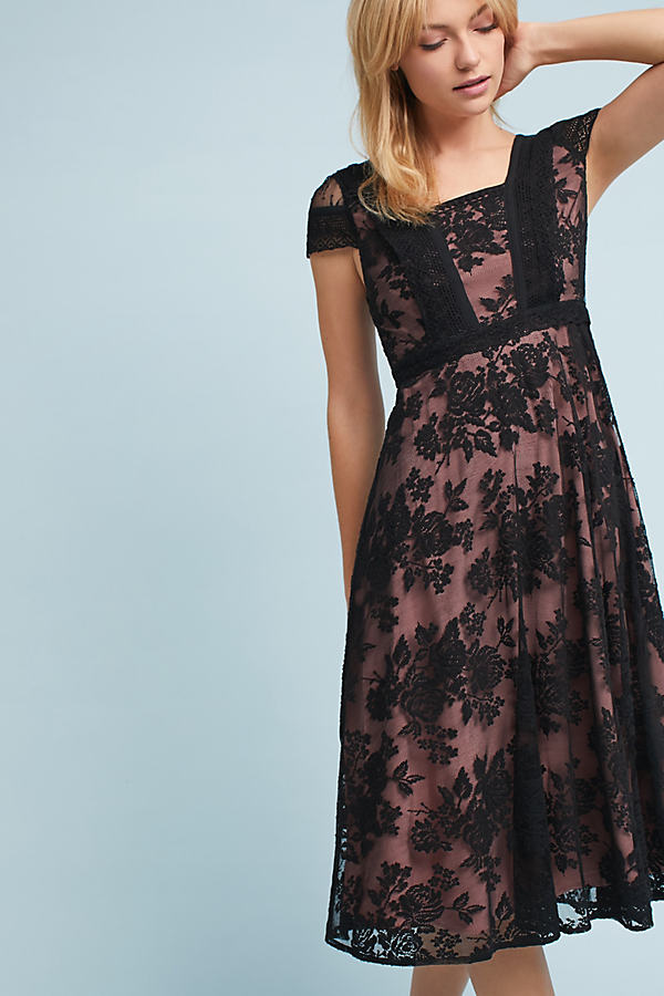 Malia Lace Midi Dress - Black, Size Uk 16
