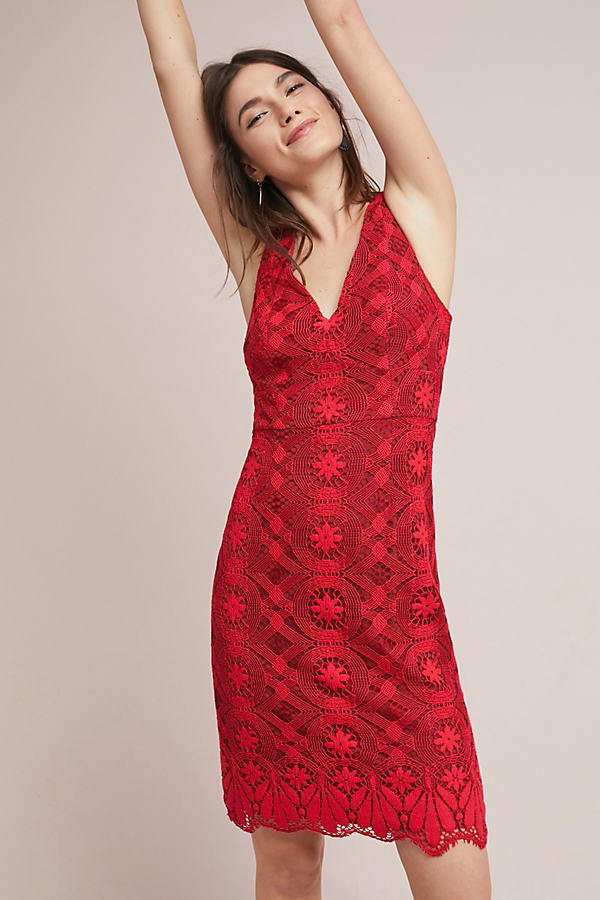 Camari Lace Column Dress - Red, Size Uk 14